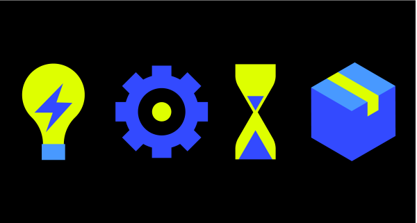 Graphic of Lightbulb, Gear, Hourglass, and Box