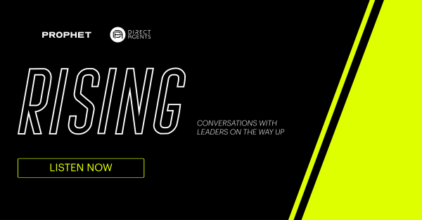 Rising Podcast Logo Hosted by Prophet Partner Mat Zucker and Direct Agents' Jeff Boaz